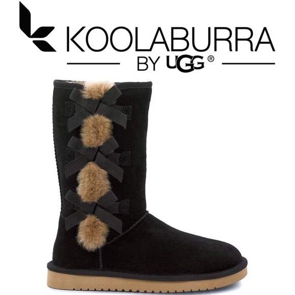 KOOLABURRA BY UGG Black bow Cow Suede tall boots fdd384e71904